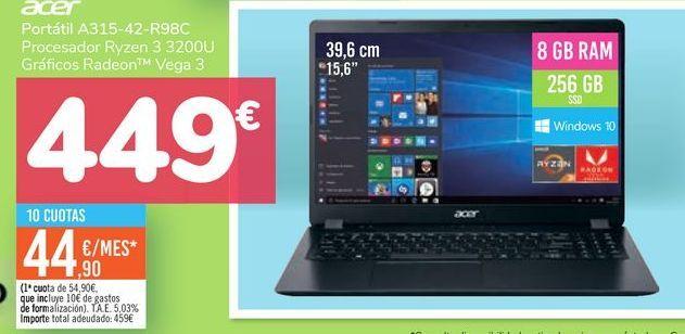 Oferta de Portátil A315-42-R98C Acer por 449€