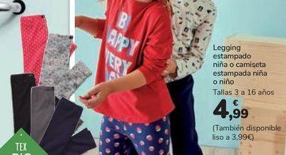 Oferta de Legging estampado niña o camiseta estampada niña o niño por 4,99€