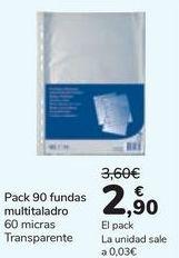 Oferta de Pack 90 fundas multitaladro por 2,9€