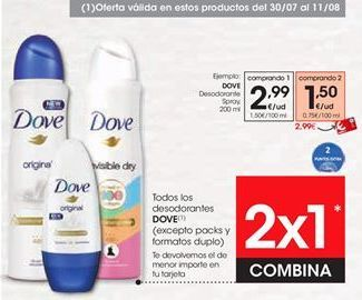 Oferta de Desodorante Dove por 2,99€