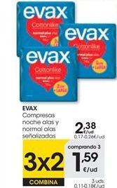 Oferta de Compresas Evax por 2,38€