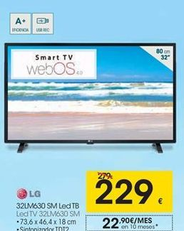 Oferta de Smart tv led 32'' LG por 229€