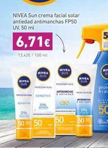 Oferta de Nivea Sun crema facial solar antiedad antimanchas FP50 UV, 50 ml por 6,71€