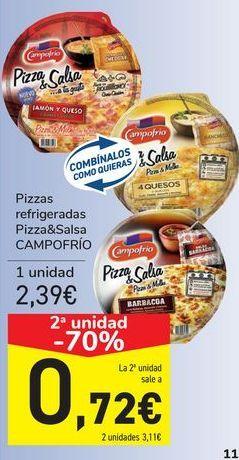 Oferta de Pizzas refrigeradas Pizza&Salsa CAMPOFRIO por 2,39€