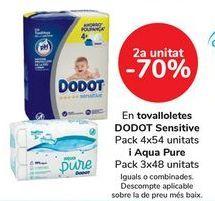 Oferta de En toallitas DODOT Sensitive y Aqua Pure  por
