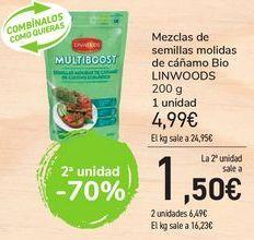 Oferta de Mezcla de semilla molidas de cáñamo Bio LINWOODS por 4,99€