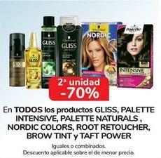 Oferta de En TODOS los productos GLISS, PALETTE INTENSIVE, PALETTE NATURALS, NORDIC COLORS, ROOT RETOUCHER, BROW TINT y TAFT POWER por