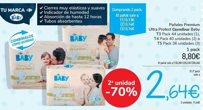 Oferta de Pañales Premium Ultra Protect Carrefour Baby  por 8,8€