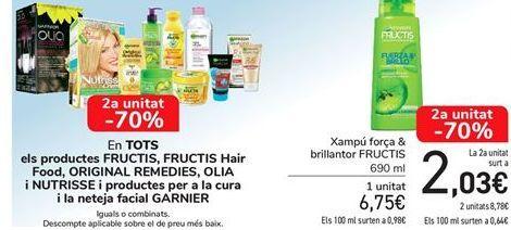 Oferta de En TODOS los productos FRUCTIS, FRUCTIS Hair Food, ORIGINAL REMEDIES, OLIA y NUTRISSE y productos para el cuidado y limpieza faciual GARNIER por