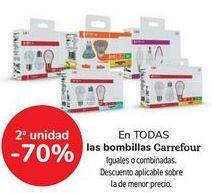 Oferta de En TODAS las bombillas Carrefour, iguales o combninados por