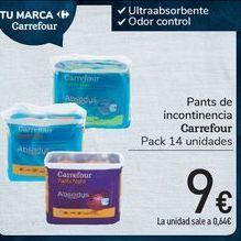 Oferta de Pants de incontinencia Carrefour  por 9€