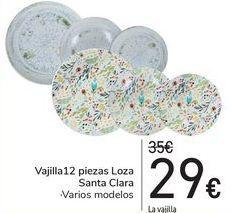 Oferta de Vajilla 12 piezas Loza Santa Clara  por 29€