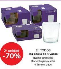 Oferta de En TODOS los packs de 4 vasos, iguales o combinados  por