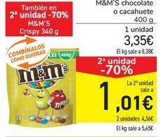 Oferta de M&M's chocolate o cacahuete por 3,35€