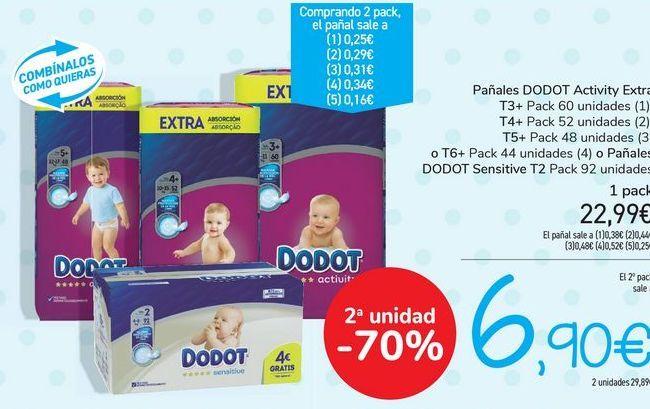 Oferta de Pañales DODOT Activiy Extra  por 22,99€