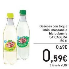 Oferta de Gaseosa con toque limón, manzazna o hierbabuna La Casera por 0,59€