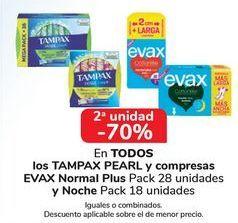 Oferta de En TODOS los TAMPAX PEARL y compresas EVAX Normal Plus y Noche por