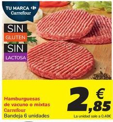 Oferta de Hamburguesas de vacuno o mixtas Carrefour por 2,85€