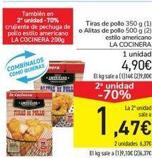 Oferta de Tiras de pollo o Alitasa de pollo estilo americano LA COCINERA  por 4,9€