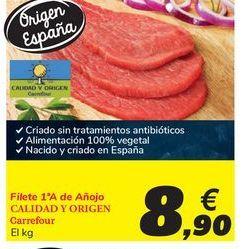 Oferta de Filete 1ª A de añojo CALIDAD Y ORIGEN Carrefour por 8,9€