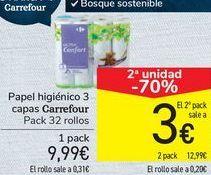 Oferta de Papel higiénico 3 capas carrefour por 9,99€