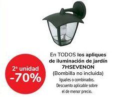 Oferta de En TODOS los apliques de iluminación de jardín 7HSEVEON, iguales o combinados  por
