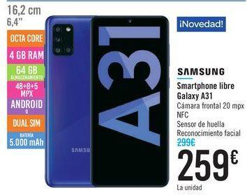 Oferta de Smartphone libre Galaxy A31 SAMSUNG  por 259€