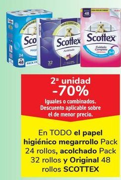 Oferta de En TODO el papel higiénico megarrollo, acolchado y Original SCOTTEX  por