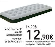 Oferta de Cama hinchable simple atercopelada  por 12,9€