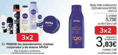 Oferta de En TODOS los desodorantes, cremas corporales y de manos Nivea por