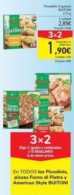 Oferta de En TODOS LKos Piccolinis, pizzas Forno di Pietra y American Style Buitoni  por