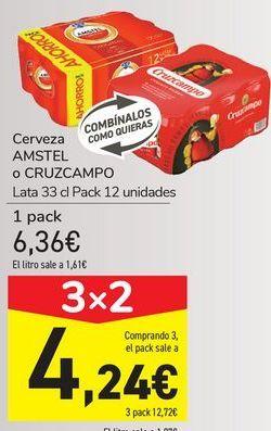 Oferta de Cerveza AMSTEL o CRUZCAMPO  por 6,36€