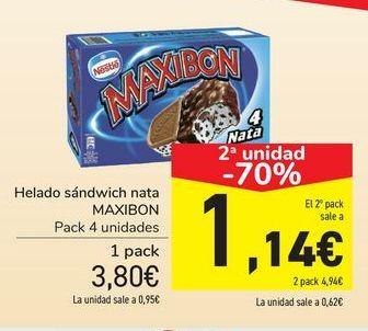Oferta de Helado sándwich nata MAXIBON por 3,8€