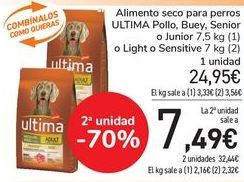 Oferta de Alimento seco para perros ULTIMA Pollo, Buey, Senior o Junior o Light o Sensitive  por 24,95€