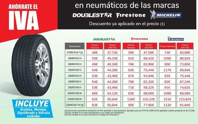 Oferta de En neumáticos de las marcas DOUBLESTAR, FIRESTONE, MICHELIN por