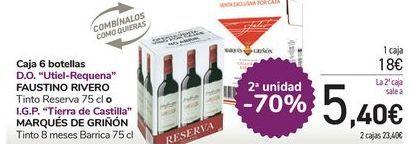 Oferta de Caja 6 botellas FAUSTINO RIVERO o MARQUÉS DE GRIÑÓN  por 18€