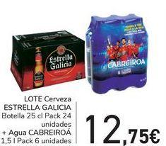 Oferta de Lote Cerveza ESTRELLA GALICIA + Agua CABREIROÁ  por 12,75€
