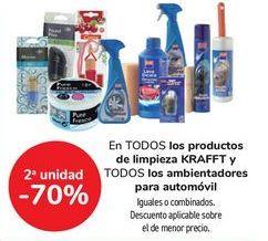 Oferta de En TODOS los productos de limpieza KRAFFT y TODOS los ambientadores para automóvil, iguales o combinados  por