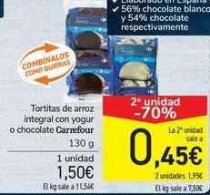 Oferta de Tortitas de arroz integral con yogur o chocolate Carrefour  por 1,5€