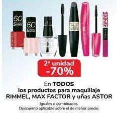 Oferta de En TODOS los productos para maquillaje RIMMEL, MAX FACTOR y uñas ASTOR por