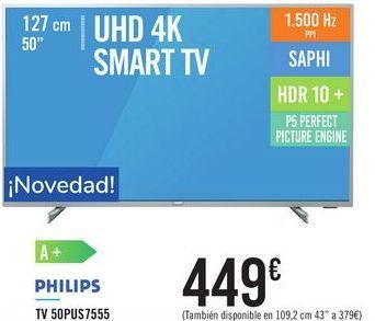 Oferta de TV 50PUS7555 PHILIPS  por 449€