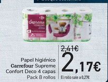 Oferta de Papel higiénico Carrefour Supreme Confort Deco 4 capas  por 2,17€