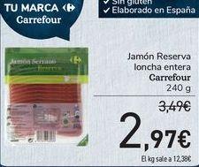 Oferta de Jamón reserva Locnha entera Carrefour  por 2,97€