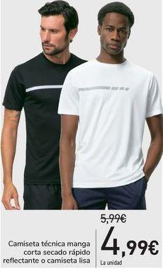 Oferta de Camiseta técnica manga corta secado rápido reflectante o camiseta lisa  por 4,99€