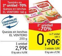 Oferta de Queso en lonchas El Ventero por 2,99€