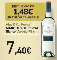 Oferta de Vino D.O. Rueda MARQÚES DE RISCAL Blanco  por 7,4€