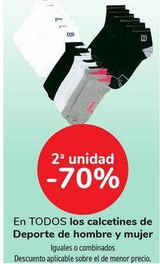 Oferta de En TODOS los calcetines de deporte de hombre y mujer, iguales o combinados  por