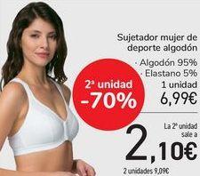 Oferta de Sujetador mujer de deporte algodón  por 6,99€