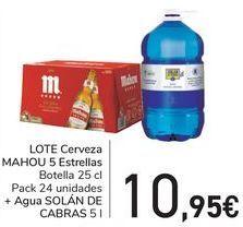 Oferta de LOTE Cerveza MAHOU 5 Estrellas + Agua SOLÁN DE CABRA por 10,95€