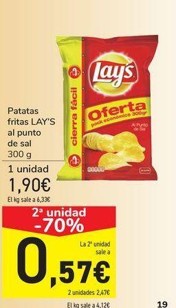 Oferta de Patatas fritas LAY'S al punto de sal por 1,9€